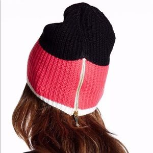 Kate Spade Pink / Gold / White / Black Zipper Hat